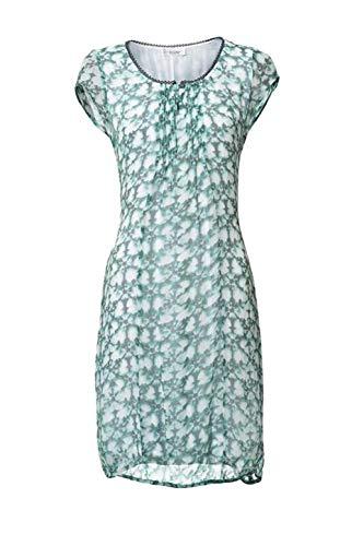 Linea Tesini Damen-Kleid Chiffonkleid grün/weiß Gr. 40