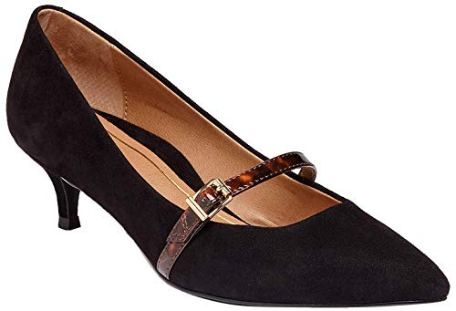 Vionic Women's Kit Minnie Mary Jane Heel - Ladies Kitten Heels with Concealed Orthotic Arch Support Black Suede Tortoise 6 Medium US