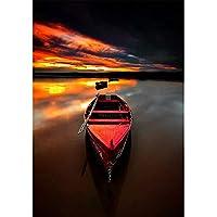 DIY 5D ダイヤモンドペインティング スクエア フルドリル ダイヤモンドアート 数字キット ダイヤモンド刺繍 壁装飾 夕暮れのボートに 11.8X15.7インチ