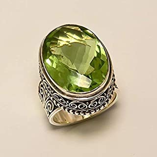 Anello di quarzo peridoto in argento massiccio 925 gioielli fatti a mano in misura da 6 a 31 IT