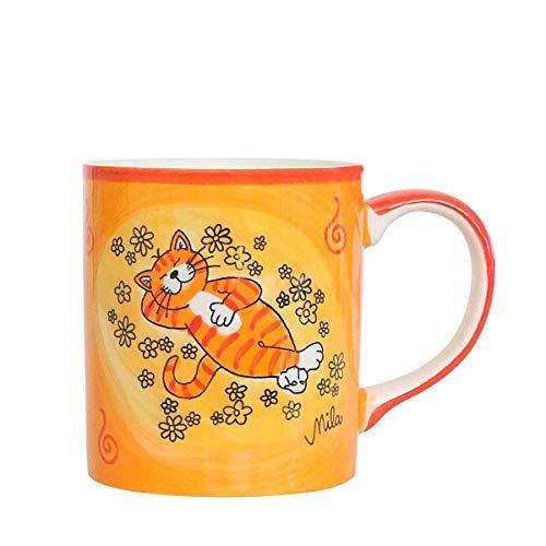 440s Mila Keramik-Becher, Oommh Katze Verschnaufpause   MI-80195   4045303801950