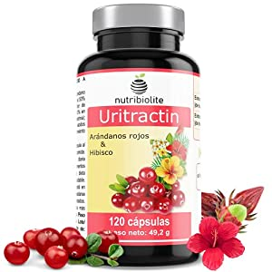 Uritractin – Extractos de Arándano rojo americano 12500 mg (con 125 mg de PACs) + Flor de hibisco 825 mg (con 5,5 mg de polifenoles) por cápsula. Suministro para 4 Meses. 120 cápsulas. Vegano. No OGM