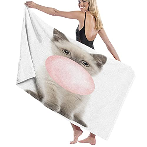 TISAGUER Toalla de baño de Microfibra Gato Lindo Animal Gatito Tiene un Globo en la Boca Funny Pattern Suave Absorbente Hoja de baño de para el hogar,los baños,la Piscina Toallas Baño Toalla de Playa