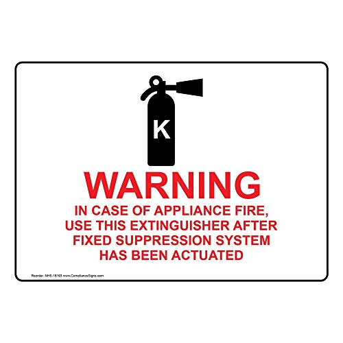 Warning in Case of Appliance Fire, Use This Extinguisher Sign, 7x5 in. Plastic for Fire Safety/Equipment by ComplianceSigns