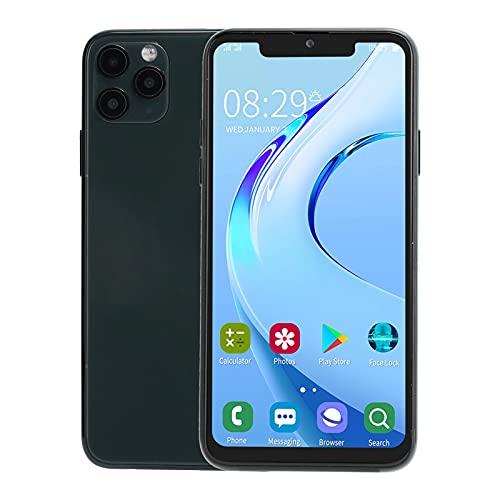 Teléfono Celular Desbloqueado,Teléfono Móvil de Doble Modo de Espera con Doble Tarjeta,Pantalla Bang de 6.5 Pulgadas,Cámaras Duales Delanteras/Traseras,1+16G,Soporte WIFI,Bluetooth,(Verde negro)