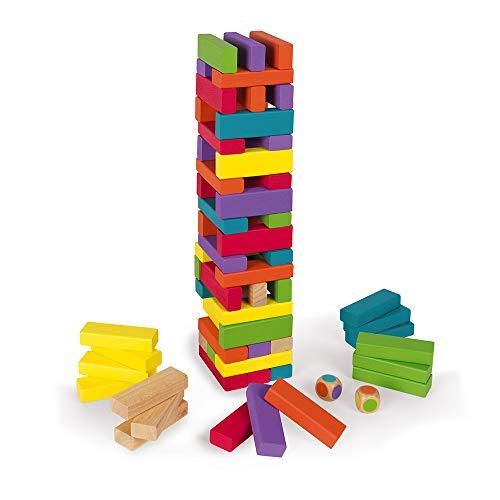 Janod J02012 - Holzturm-Geschicklichkeitsspiel, Equilibloc Colour