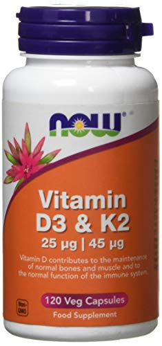 Now Foods Vitamin D3 and K2 Veg Capsules, 25 mcg/45 mcg, Pack of 120