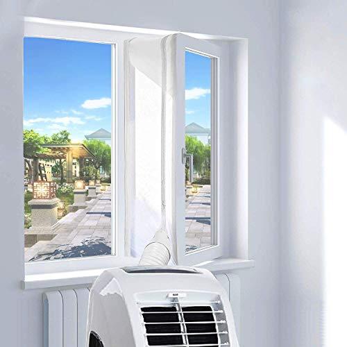 YOMERA Kit Ventana Aire Acondicionado Portatil 400CM, Adaptador Ventana Aire Acondicionado, Sello de Ventana Aire Acondicionado, Fácil Instalación Evita La Entrada de Mosquitos