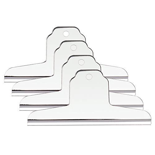 Pinzas metálicas extra grandes, para mesas de dibujo o caballete, plateadas, 145 mm, paquete de 4