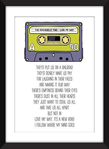 The Psychedelic Furs - Love My Way Lyrics - Unframed Retro Cassette Print/Sin marco
