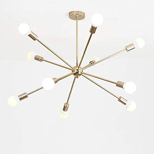 Lámpara de techo de estilo industrial satélite, creativa, sencilla y molecular, para salón, dormitorio, restaurante, lámpara de techo galvanizada de oro, 6 luces