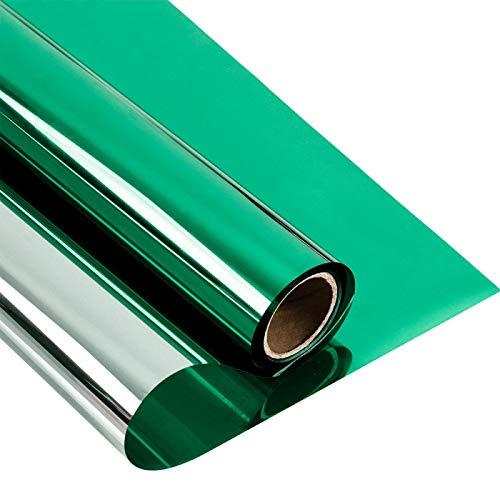 Fensterfolie Fenster Film Grün&Silber reflektierende Glas Aufkleber One Way Mirror Privacy UV Ray Protector Wärmedämmung Solar Tinting 50cmx500cm greensilver