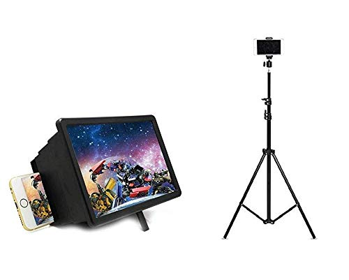 Dronean KR073 Foldable 7 Feet Tripod Holder for All Mobiles & Cameras with Screen 3D Magnifier Mobile Screen for Watching Pictures & Videos On Big Screen (Combo Offer)