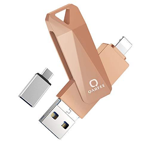 QARFEE Chiavetta USB 32GB per iPhone iPad Memoria USB Memory Stick 3.0 Flash Drive 4 in 1 Pen Drive per Dispositivi con iOS/Android/USB/Micro USB/Tipo C Porta(Oro)