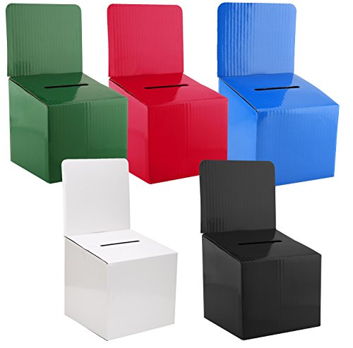 MCB - Ballot Box for Suggestions Donations Raffles White Glossy Cardboard Boxes in Medium Size 6x6x6 inches with Slot for Tickets and More (Variety Pack)