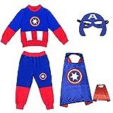 YICHUAN Disfraz para Niños Niños Halloween Capitán América Mostrar Ropa De Dibujos Animados Anime Traje De Disfraces,Captain America-140