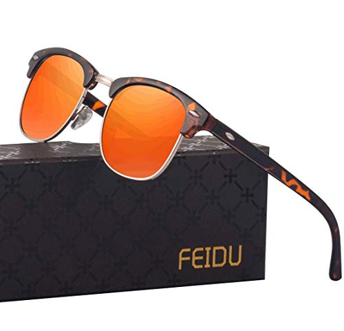 FEIDU Retro Polarized Mens Sunglasses for Men Half Metal Women FD3030 (orange-leopard, 2.04)