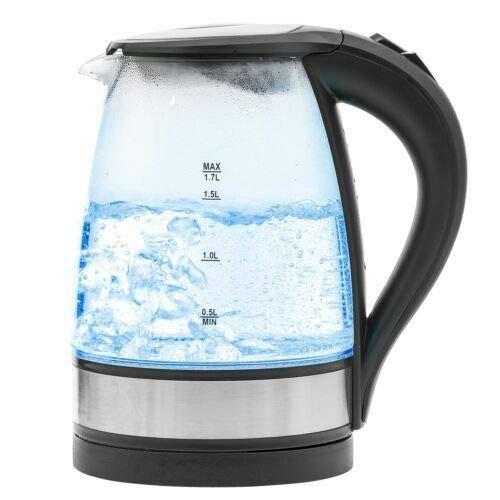 Homezone 1.7L L Schnell Siedend Elektrischer Wasserkocher Glas Warmwasser Boiler mit Blau Led-Anzeige Licht, Kabellos Bpa-Frei Borosilikatglas Teekessel mit Boil Trocken Schutz, Automatisch Absperr-