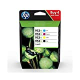 HP 3HZ52AE 953XL High Yield Original Ink Cartridges, Black/Cyan/Magenta/Yellow, Multipack