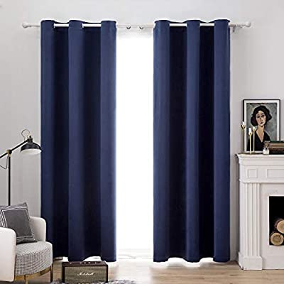 MIULEE Blackout Curtains Room Darkening Thermal Insulated Drapes Solid Window Treatment Set Grommet Top Light Blocking Curtain for Living Room/Bedroom 2 Panels 42 x 90 inch Navy Blue