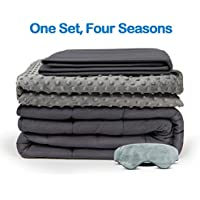 4-Piece BUZIO Weighted Blanket With 2 Removable Duvet Covers & 1 Weighted Sleep Mask (Grey)