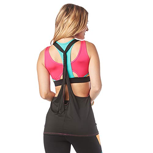 Zumba Fitness Damen Tanktops Women\'s Sexy Open Back Breathable Workout Tank Top, Pink Berry, L