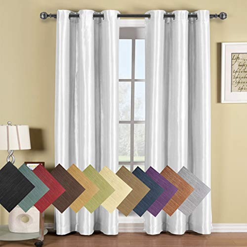 Royal Hotel Soho White Grommet Blackout Window Curtain Panel, Solid Pattern, 42x96 inches