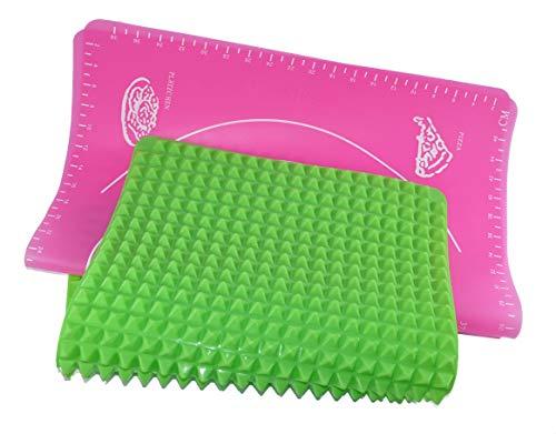 ADEEB76 Backmatten Silikon Set mit glatter großer Teigmatte 50x40cm und Backmatte mit Pyramiden Struktur 40x28cm Silikon Backpapier Backunterlage