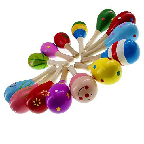 MULOVE Maracas de madera para percusión, martillo de arena, instrumentos musicales, juguetes educativos para niños, color al azar