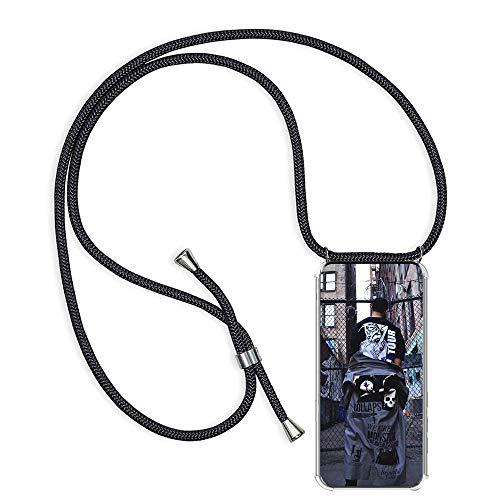 TUUT Handykette kompatibel mit Huawei Honor 6X - Smartphone Necklace Hülle mit Band Schutzhülle - Handyhülle mit Kordel Umhängen Halsband - Schnur mit Hülle zum umhängen in Schwarz