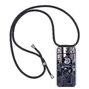 Funda Colgante con Cuerda para Colgar Motorola Moto G4 / Moto G4 Plus - Carcasa Transparente de TPU Suave Silicona - con Cordon para Llevar en el Cuello [ Anti-Choque] [Anti-rasguños], Negro