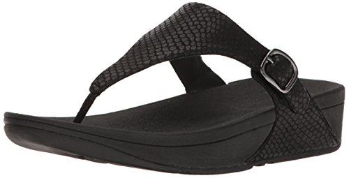 FitFlop Women's The Skinny Sandal, Black Snake, 8 M US