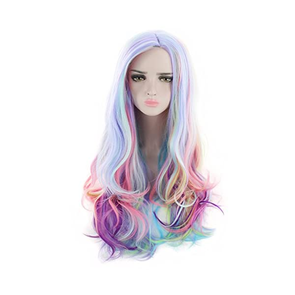 AGPtEK Full Long Curly Wavy Rainbow Hair Wig, Heat Resistant Wig for Music Festival, Theme Parties, Wedding, Concerts… 4