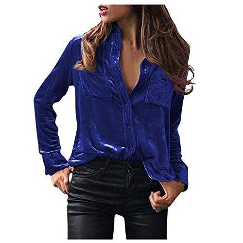 SHOBDW Mujeres de Terciopelo sólido a su Vez-Dowm Cuello Manga Larga Slim Fit Camiseta Tops Blusa (Azul Oscuro, S)