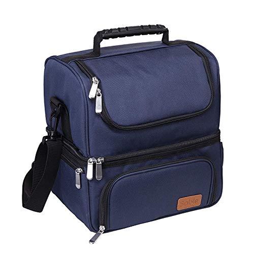 Sable Lunch-Tasche, Kühltasche Thermotasche Lunchbox mit 2 geräumigen Fächern, Isolierte Essenstasche Picknicktasche mit Schulterriemen, Wiederverwendbare wasserdichte Kühlbox, Blau