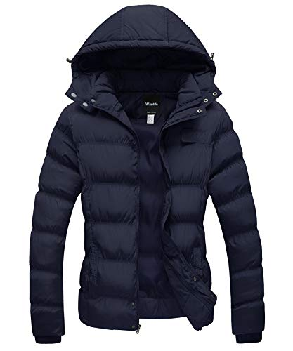 Wantdo Women's Hooded Winter Coat Thicken Puffer Jacket with Hood Navy XX-Large
