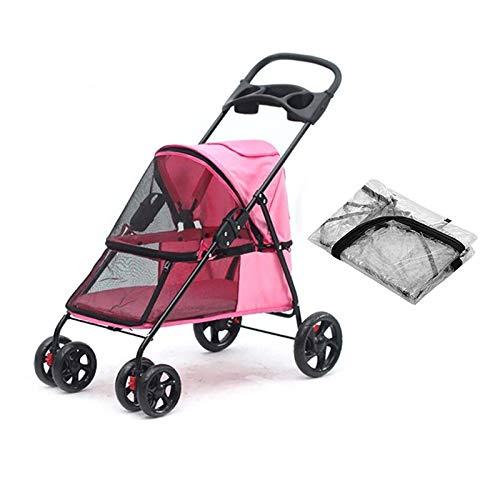GWXTC Faltbarer Bollerwagen Haustierwagen im Freien Beweglicher tragbarer Hundekatzen-Klappwagen, 4 Räder, die Speicher-Warenkorb ausgehen, L32 * W75 * H93CM (Color : Pink)