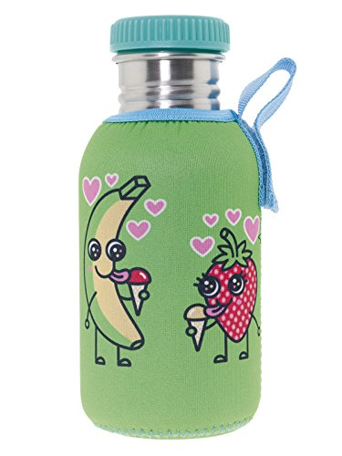 Katuki Saguyaki - Botella Infantil de Acero Inoxidable 18/8 con Tapón y Funda de Neopreno Verdes