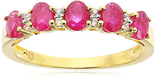 Yellow Gold-Plated Silver Burmese Ruby and White Zirconia 5-stone Stackable Ring, Size 7