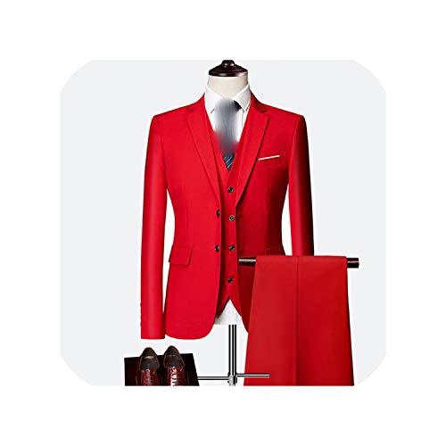Heren Slanke Effen Kleur Zakelijke Office Suit Sets Mannen Blazer+ Broek + Vest