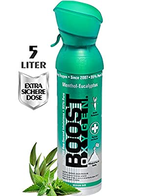 Boost Oxygen Supplemental Oxygen to Go | All-Natural Respiratory Support for Health, Wellness, Performance, Recovery and Altitude (5 Liter Canisters, 1 Pack, Menthol-Eucalyptus)