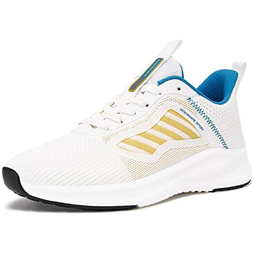 URDAR Zapatillas De Deporte Mujer Running Sneakers Antishock Zapatos de Deportivas CordonesTranspirables Ligeras Zapatillas Casual(Azul Blanco,39 EU)