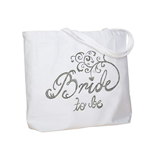 ElegantPark Bride to Be Jumbo Tote Bag Wedding Bridal Shower Gift Canvas 100% Cotton Interior Pocket White with Silver Glitter