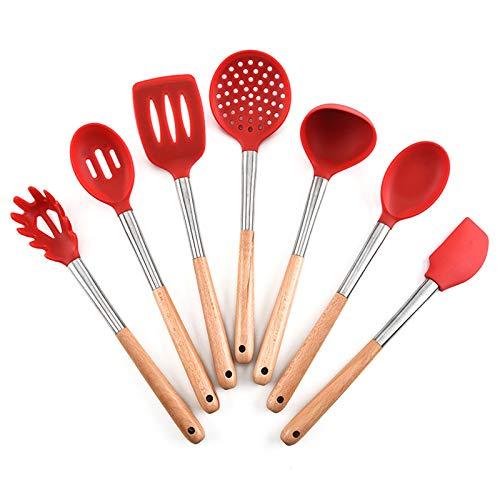 UYIDE 7 Tipos De Utensilios De Cocina De Silicona Resistentes Al Calor, Juego De Mangos De Madera, No Deformados, Fáciles De Almacenar, Adecuados para Cocinar Y Sopas,Rojo