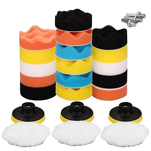 Pulchram 25PCS 80mm Polierschwamm Set Polierpad Set aus Schwamm und Wolle Polierset Polierfell Kit für Sauber Machen Lackpflege Poliermaschinen Bohrmaschine