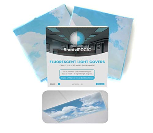 ShadeMAGIC Fluorescent Light Covers for Classroom Office - Light Filter Pack of (2); Eliminate Harsh Glare That Causing Eyestrain and Head Strain. Office & Classroom Decorations. Light Diffusers (2)