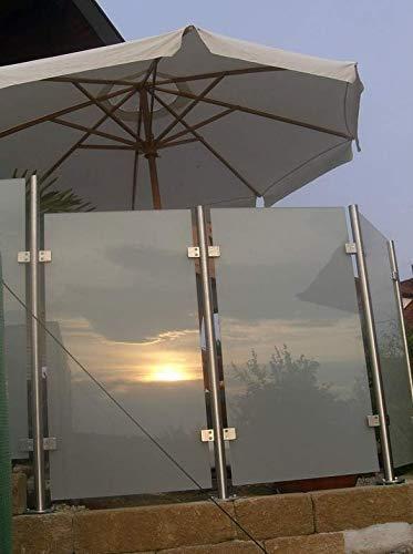 Wind-/Sichtschutz aus Edelstahl und Glas