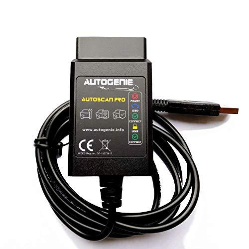 bestbeans Autogenie© Das Original Autoscan Pro OBD2 Windows USB Diagnosegerät - Fehler löschen lesen PKW KFZ ELM 327 EOBD CAN-Bus Code-Scanner