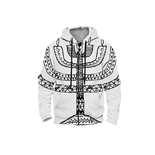 Hanukkah.Holiday.Candle.Doodle,Men's Zip up 3D Fashion Hoodies Sweatshirts Hand Draw Candle S