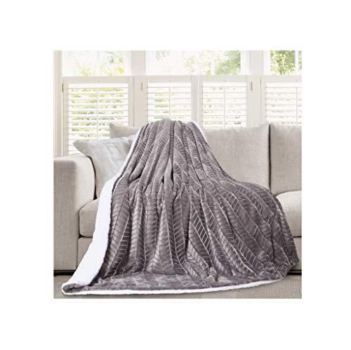 "Micromink Flannel Throw Blanket, Reverses to Sherpa, Fuzzy Mink Cozy Warm Fluffy Velvety Home Fashion (60"" x 80"") Grey"